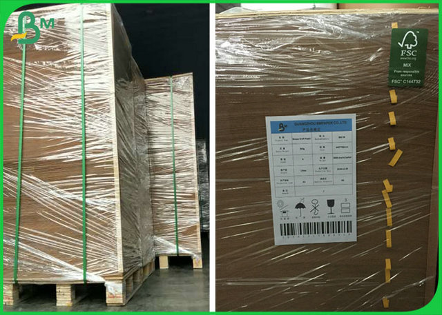 Food Grade Poly Coated Paper , Unbleached Kraft Paper with good waterproof